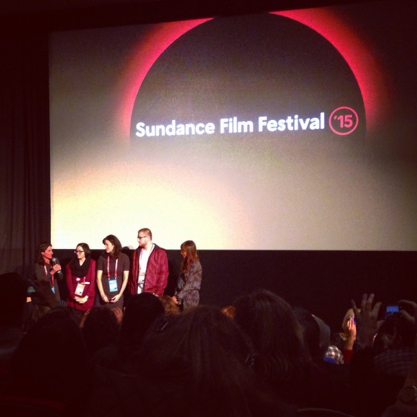 Directors Jill Bauer & Ronna Gradus and producer Rashida Jones with film subjects Tressa Silguero and Kendall Plemons at the 2015 Sundance Film Festival premiere of Hot Girls Wanted.