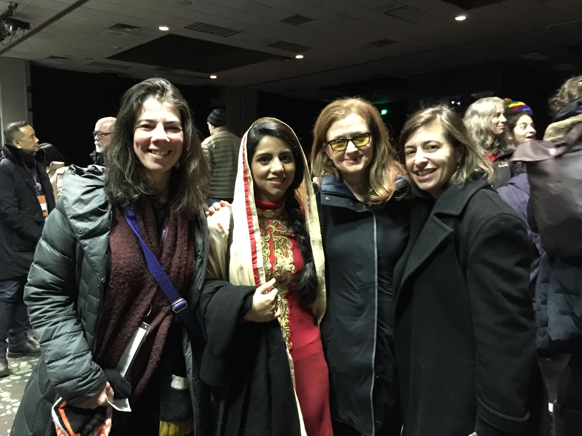 Executive Director Jenni Wolfson, Co-Founder Wendy Ettinger, and Co-Founder Julie Parker Benello with Sonita Alizadeh at a Sundance screening of SONITA